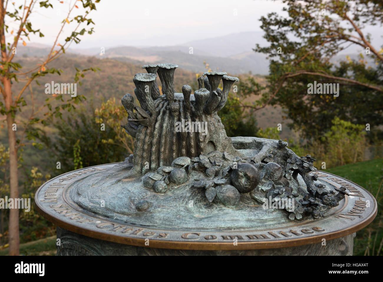 Tucson Almaty sister city plaque with flowering cactus on Kok Tobe mountain Kazakhstan - Stock Image