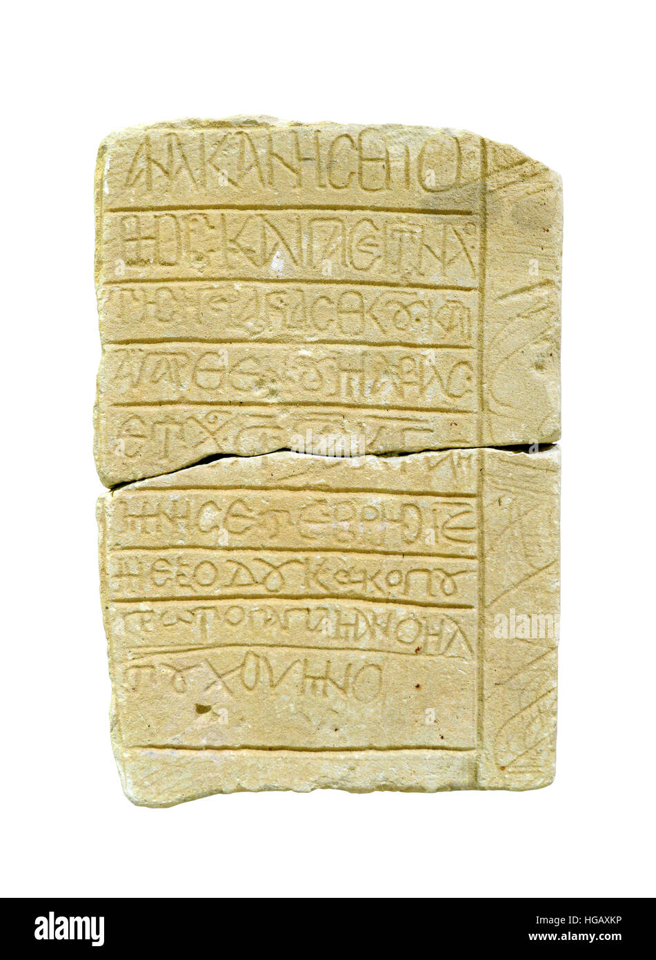 ancient greek written stone isolated over white - Stock Image