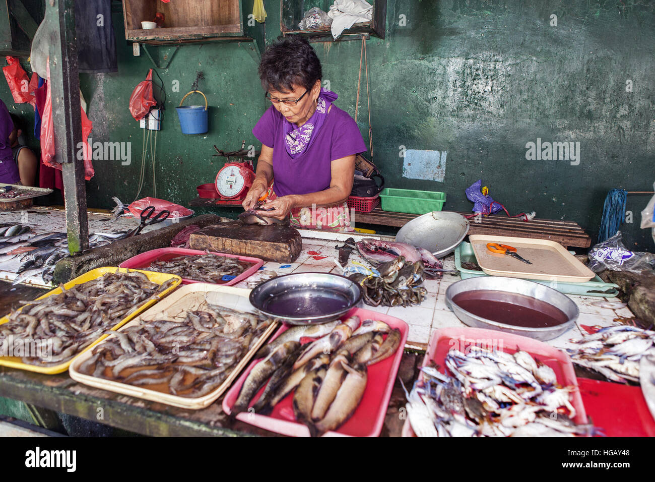 Filipino woman prepares milkfish, Chanos chanos, to sell at the public market in Barretto Town, Luzon Island, Philippines. - Stock Image