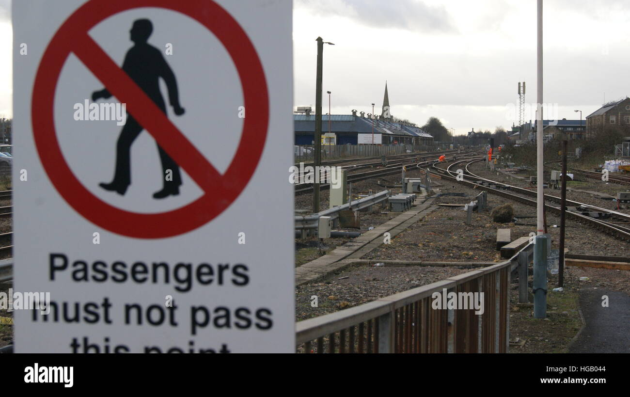 Men at work on the points just outside of Swindon station. Stock Photo