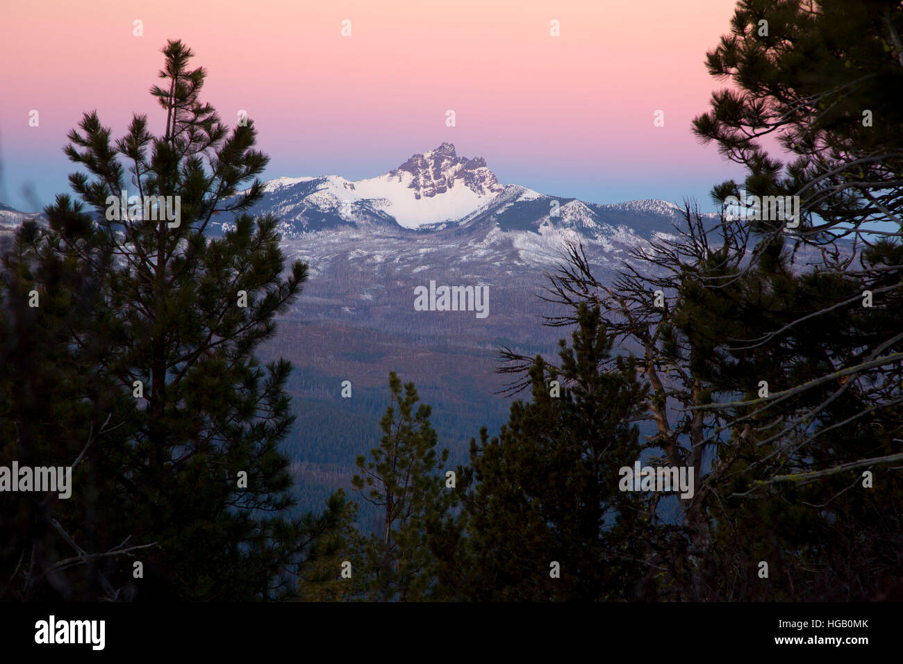 Three Fingered Jack dawn from Black Butte, Deschutes National Forest, Oregon Stock Photo