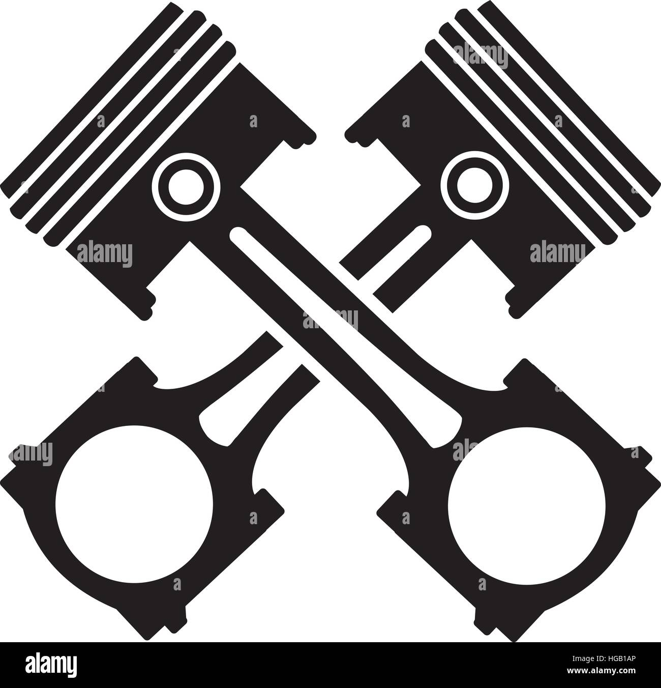 crossed engine pistons stock vector images alamy