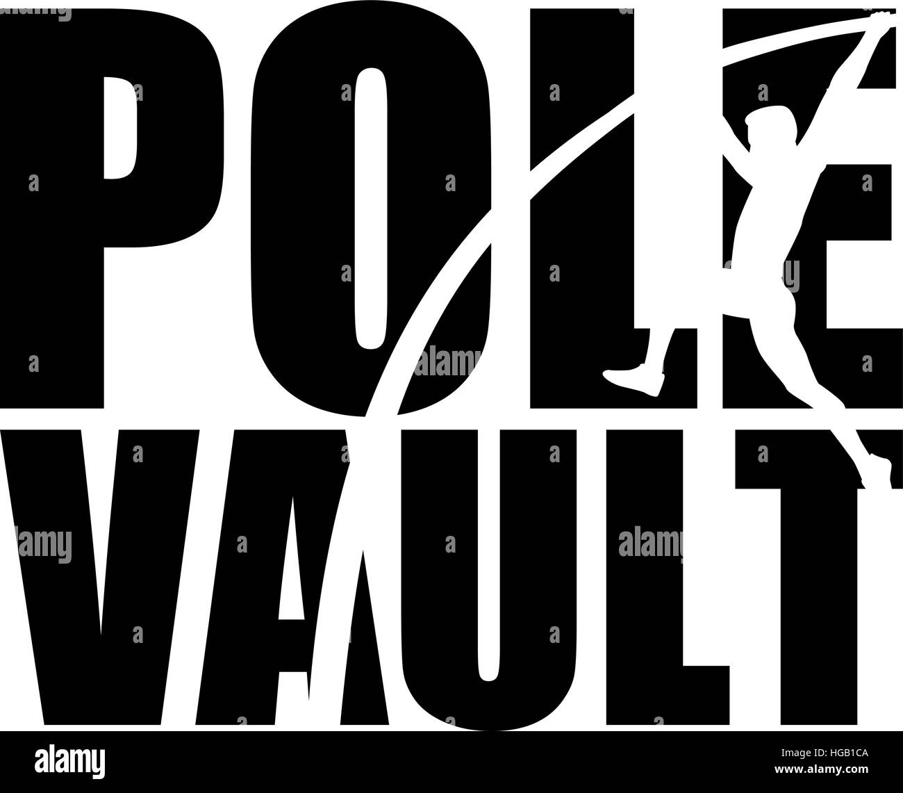 Pole Vault with silhouette - Stock Vector