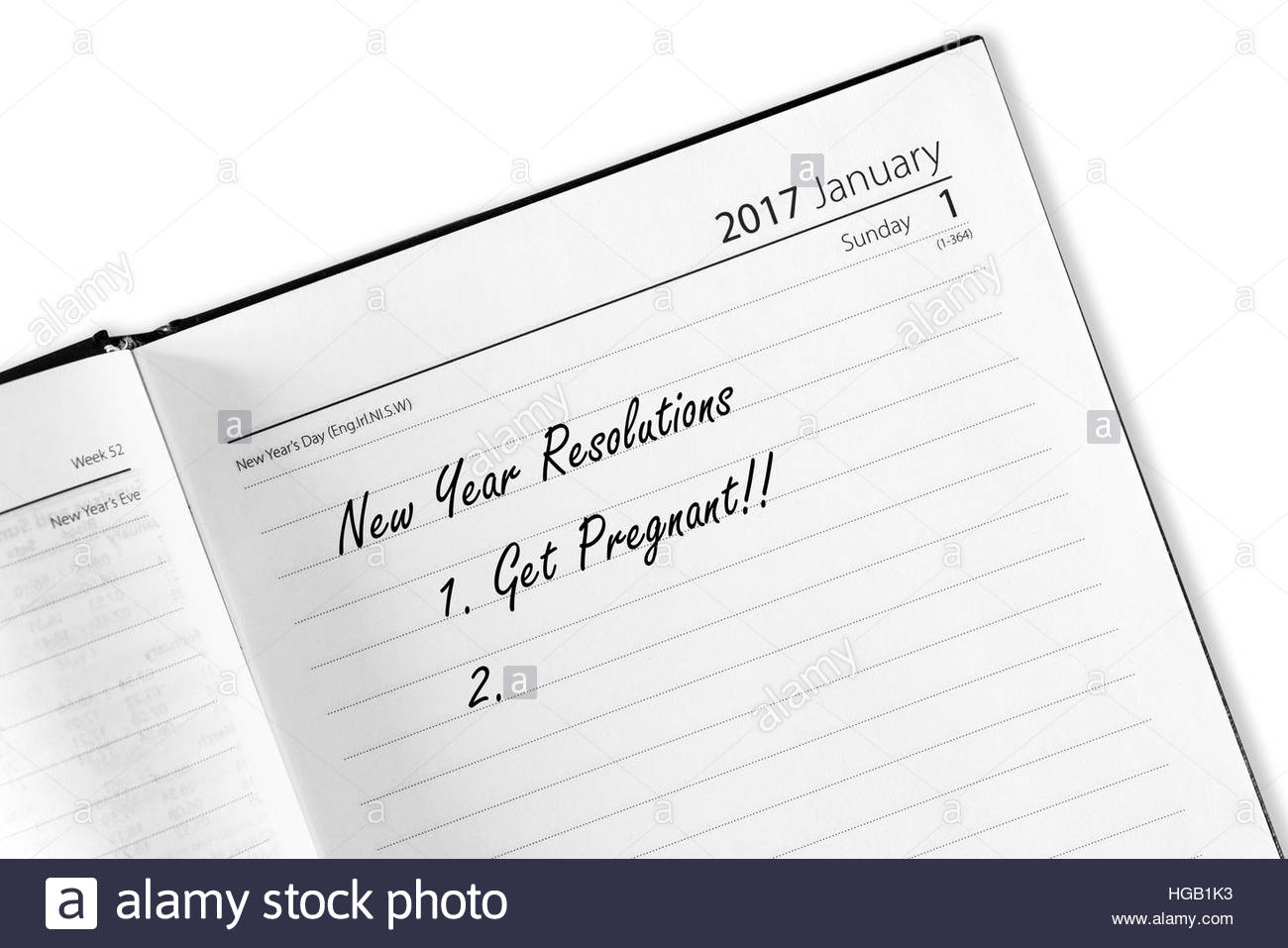 Get pregnant, New Year Resolutions - Stock Image