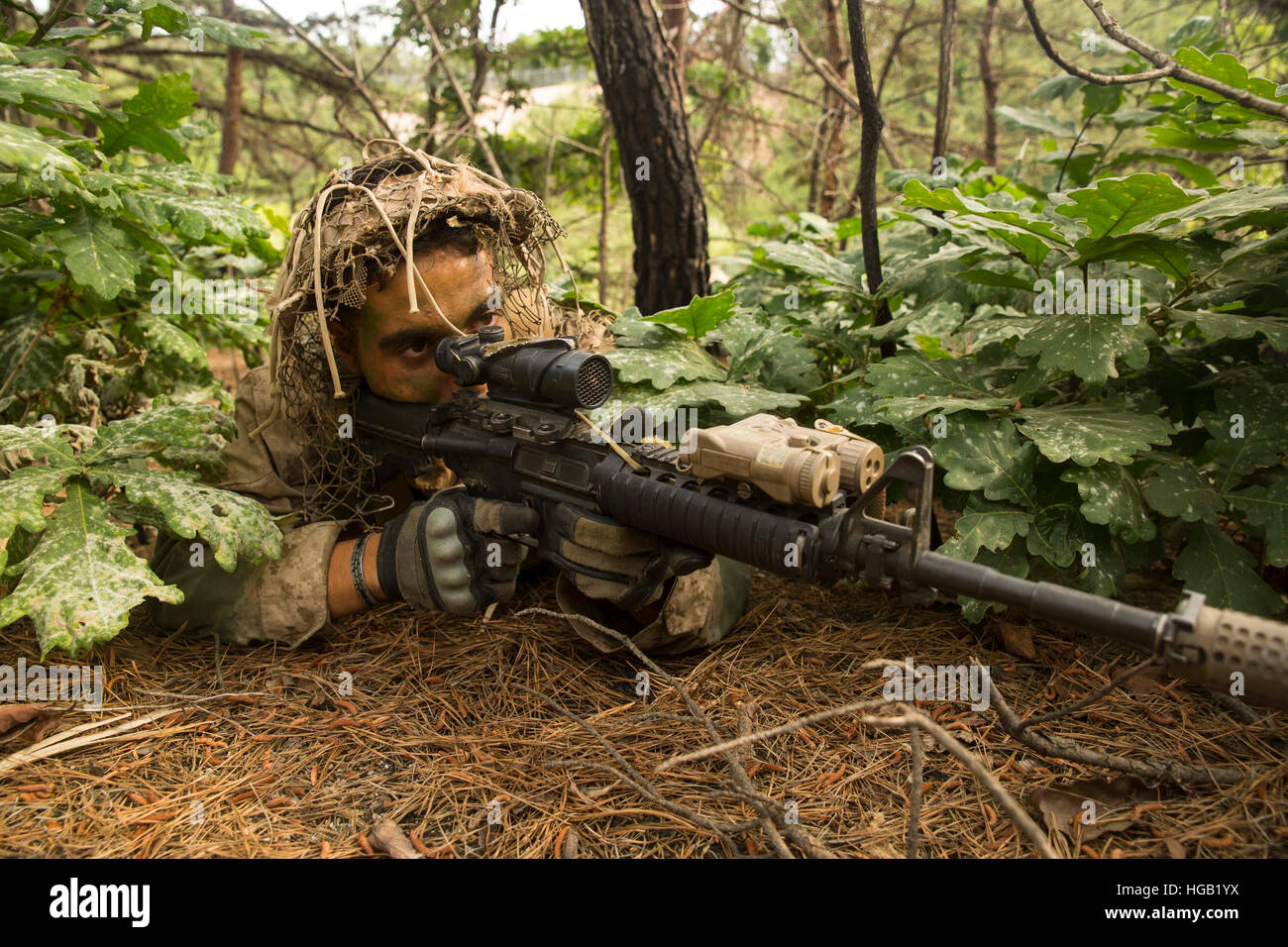 U.S. Marine scout sniper provides security for his unit in South Korea. - Stock Image