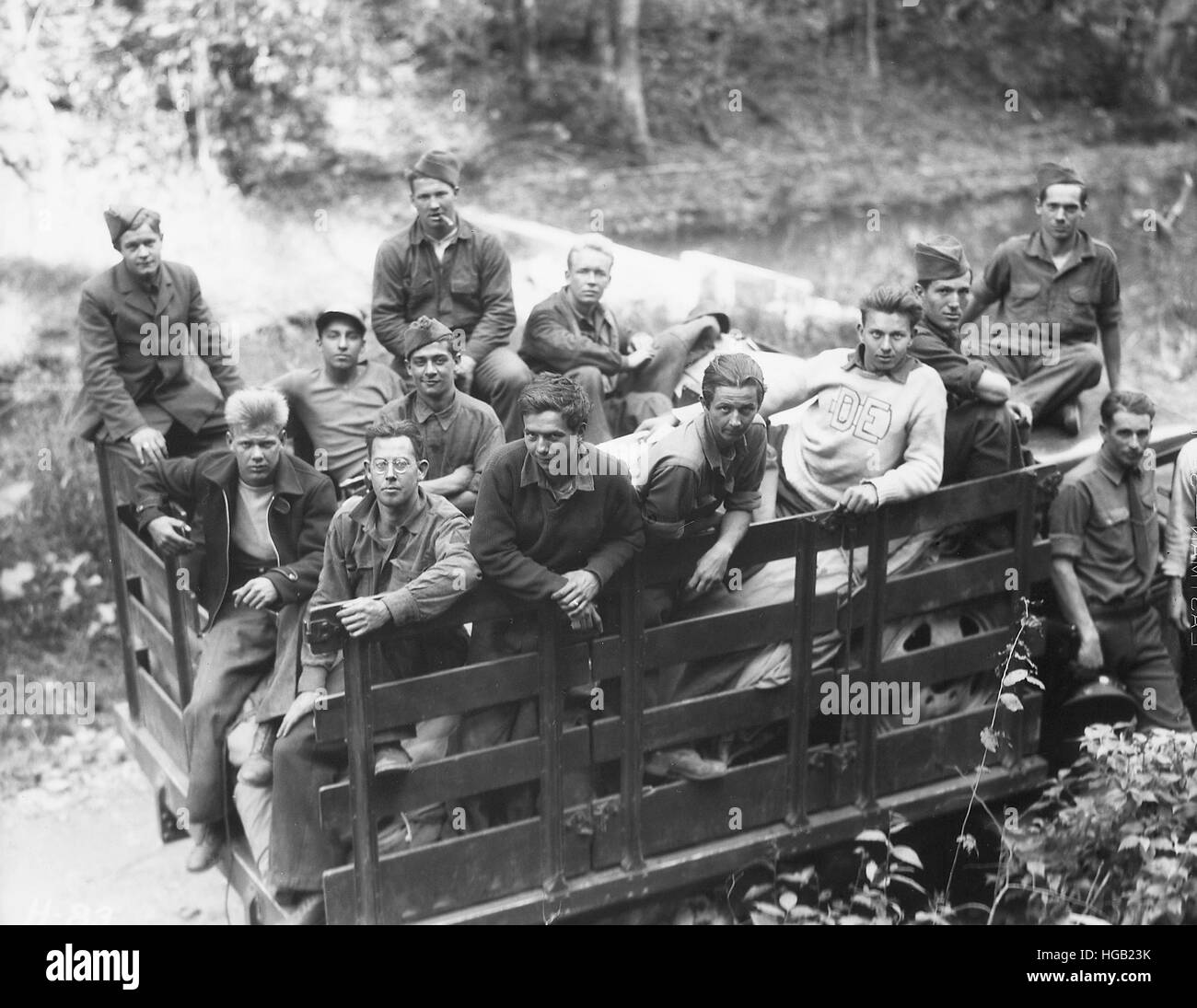 Group of Civilian Conservation Corps boys arrive to camp in Tennessee, 1933. - Stock Image