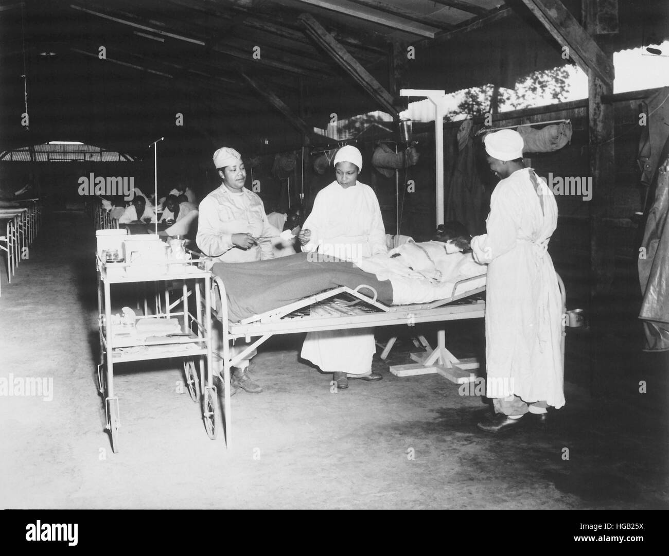 Surgical ward treatment at the 268th Station Hospital in New Guinea, June 1944. - Stock Image