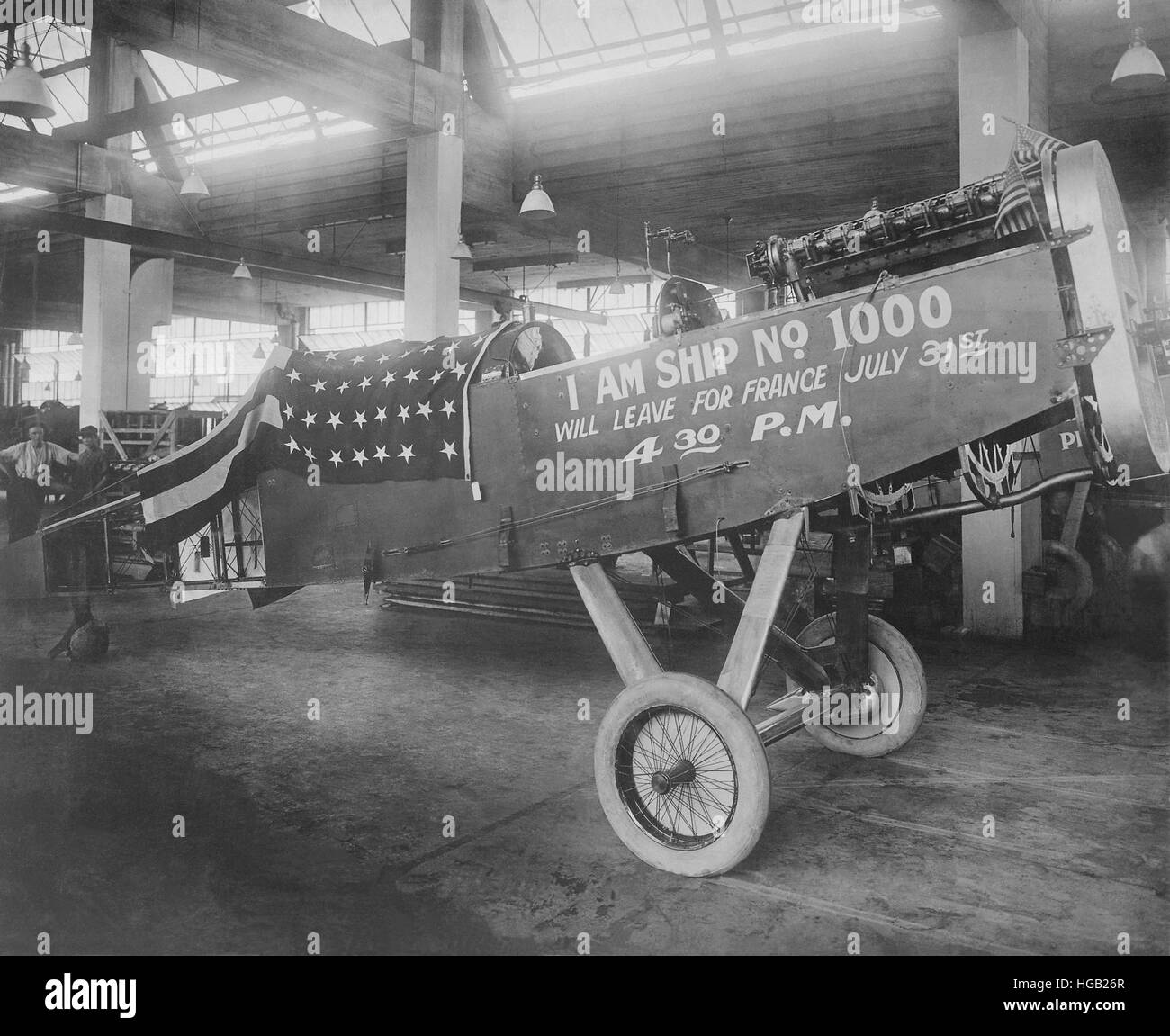 The one thousandth airplane manufactured by the Dayton-Wright Airplane Company. - Stock Image