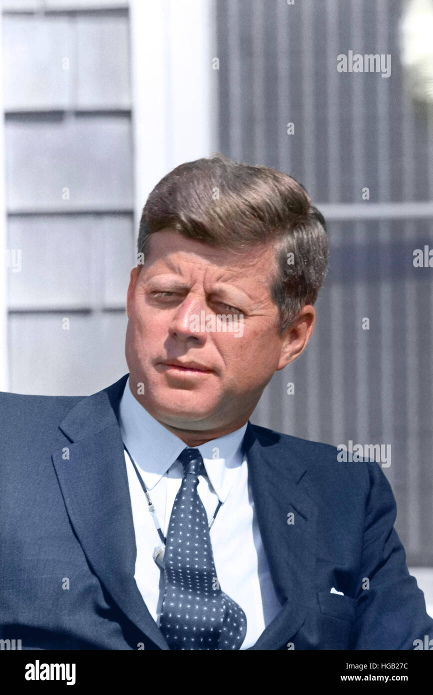 Digitally restored photo of President John F. Kennedy. - Stock Image