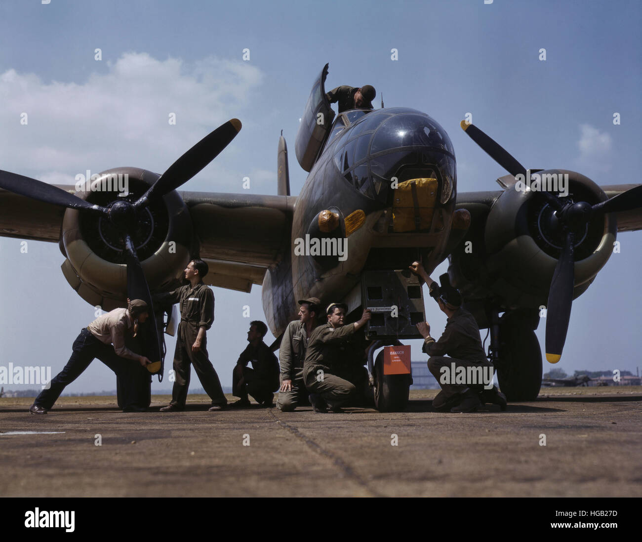 July 1942 - Servicing an A-20 bomber, Langley Field, Virginia. - Stock Image