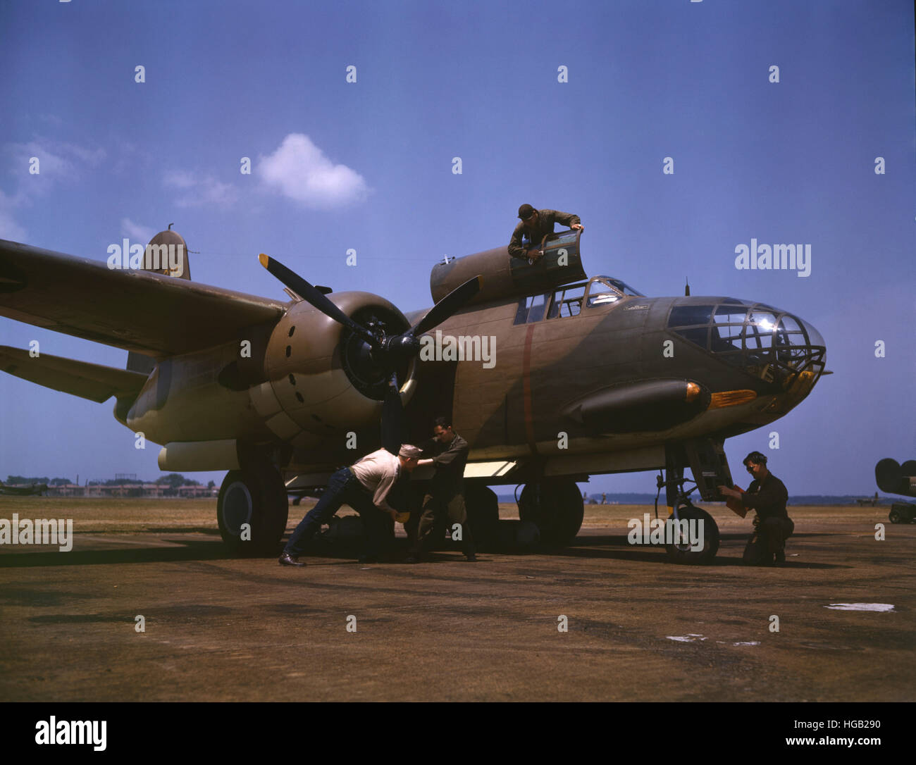 July 1942 - An A-20 Havoc bomber being serviced at Langley Field, Virginia. - Stock Image