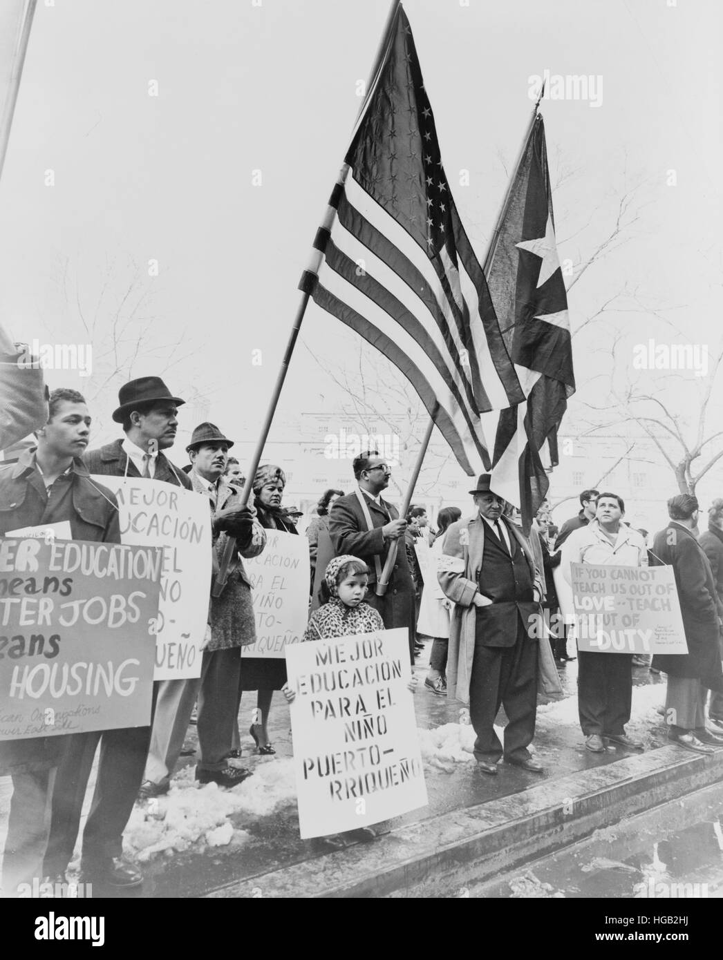 Puerto Ricans demonstrate for civil rights, New York City, 1967. - Stock Image