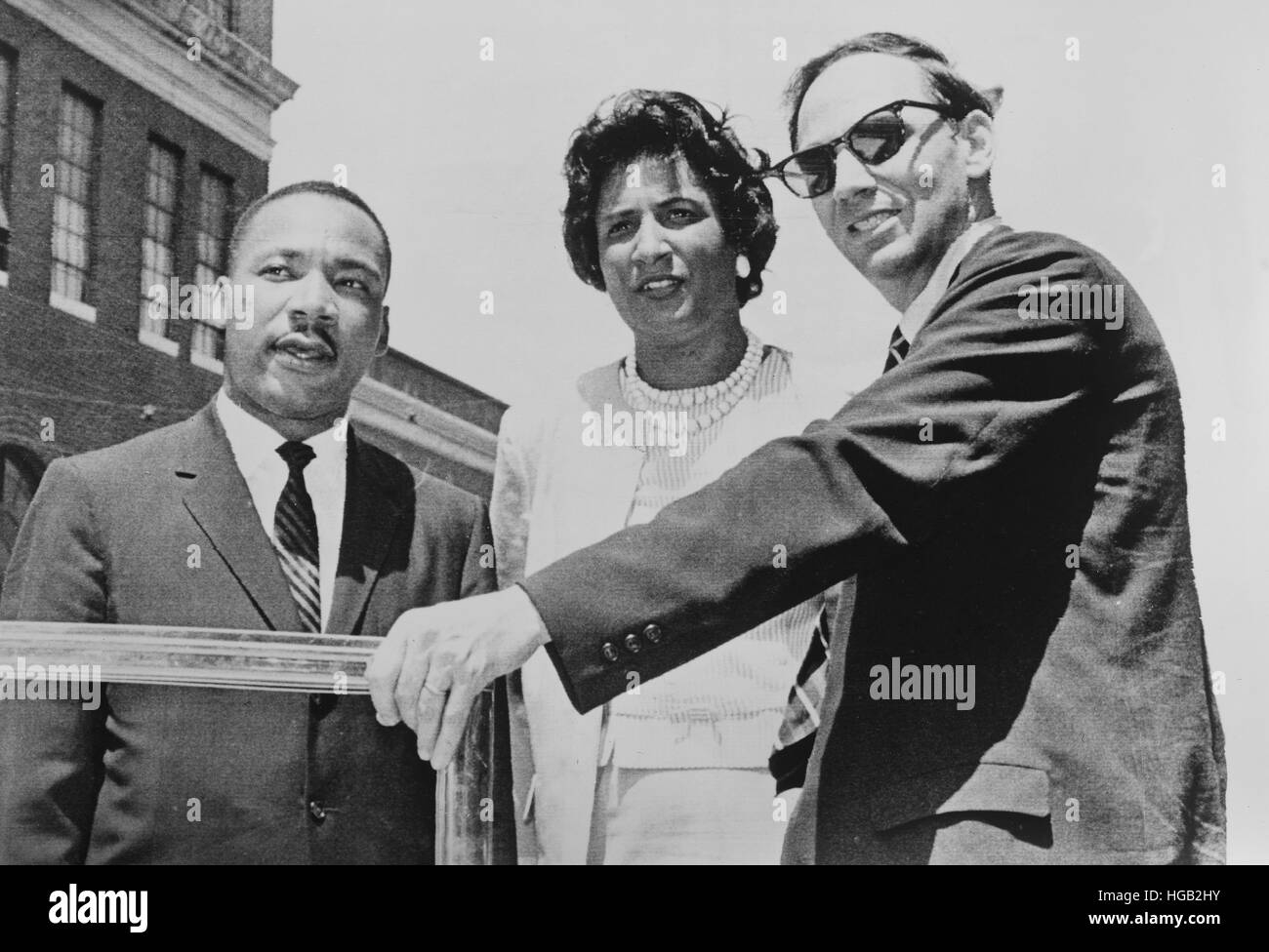 Rev. Martin Luther King (left), and attorneys Mrs. Constance Motley and William Kunstler. - Stock Image