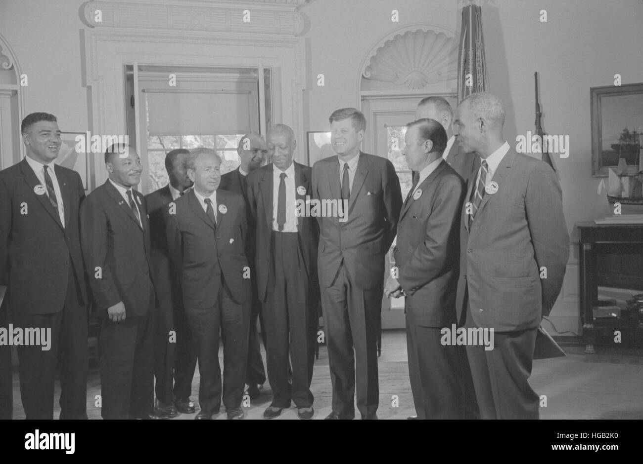 Civil rights leaders meet with President John F. Kennedy in the oval office of the White House. - Stock Image