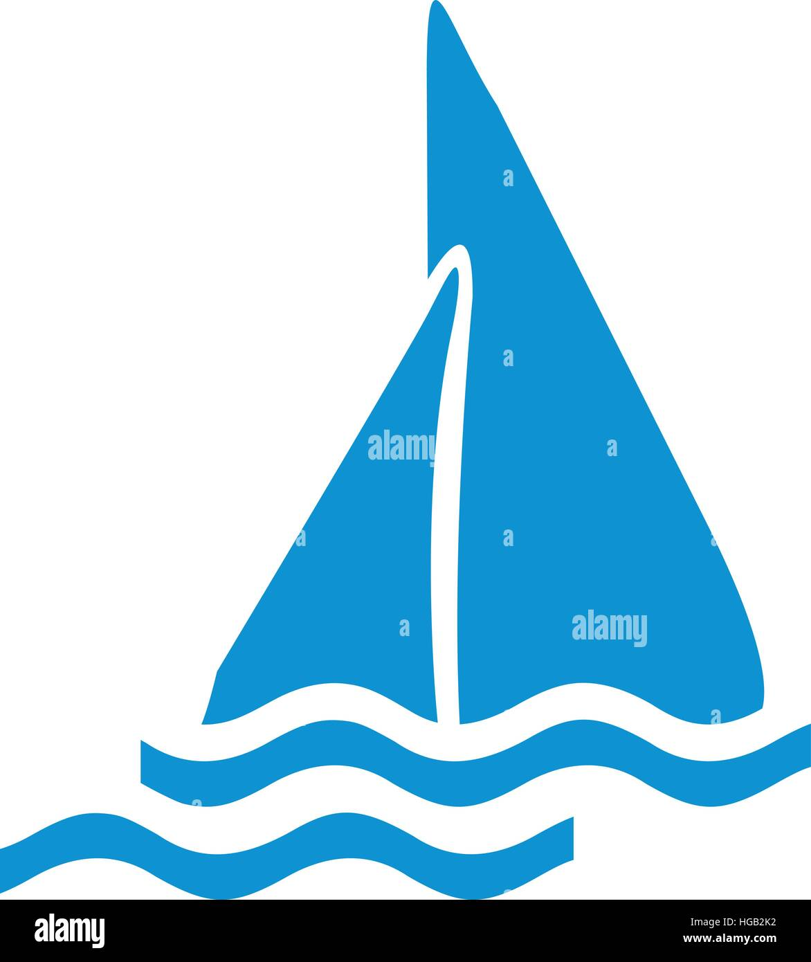 Icon of a sailing boat - Stock Image