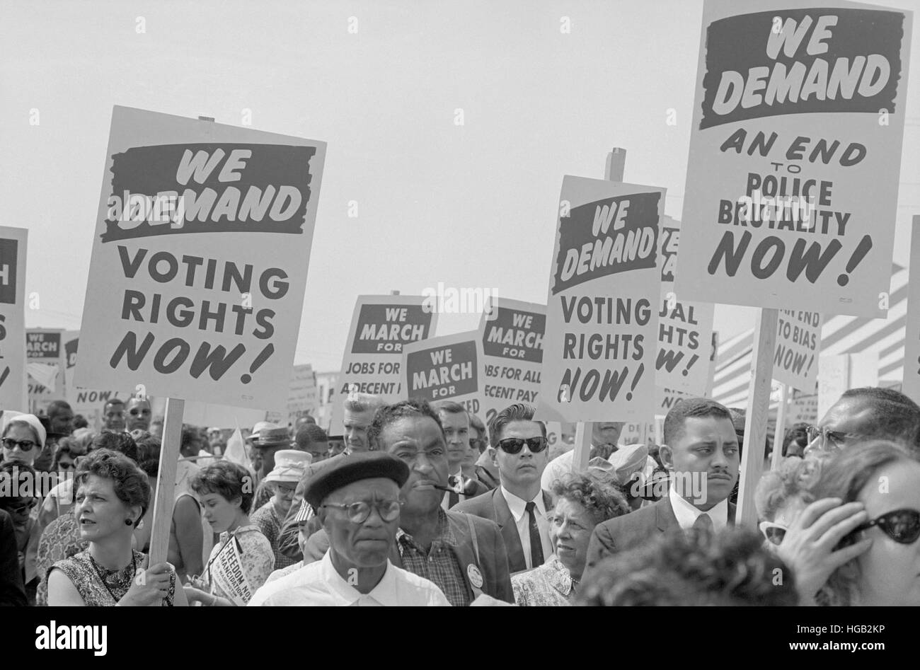 August 28, 1963 - Marchers with signs at the March on Washington. - Stock Image