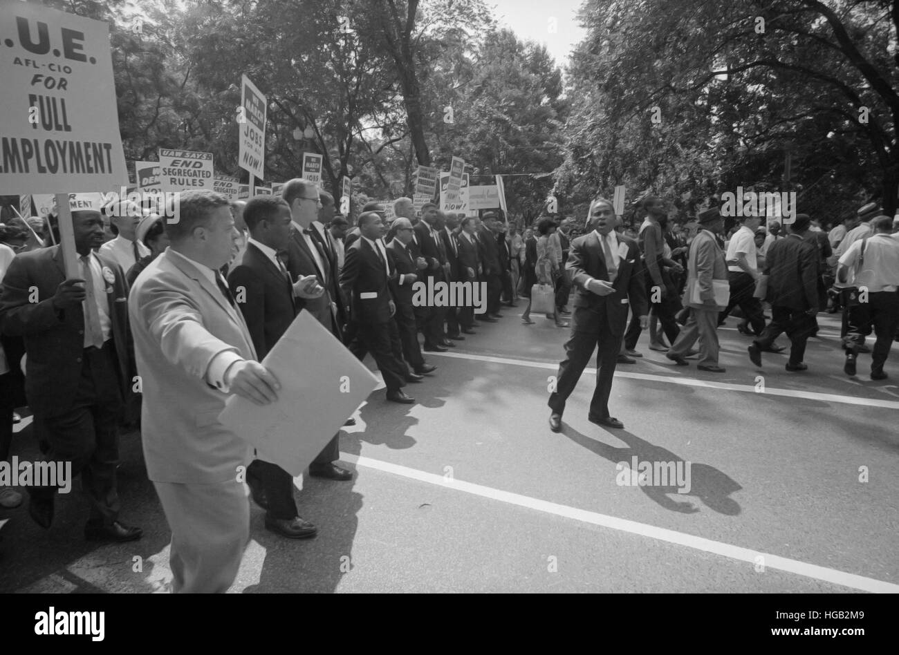 August 28, 1963 - Martin Luther King with leaders at the March on Washington. - Stock Image