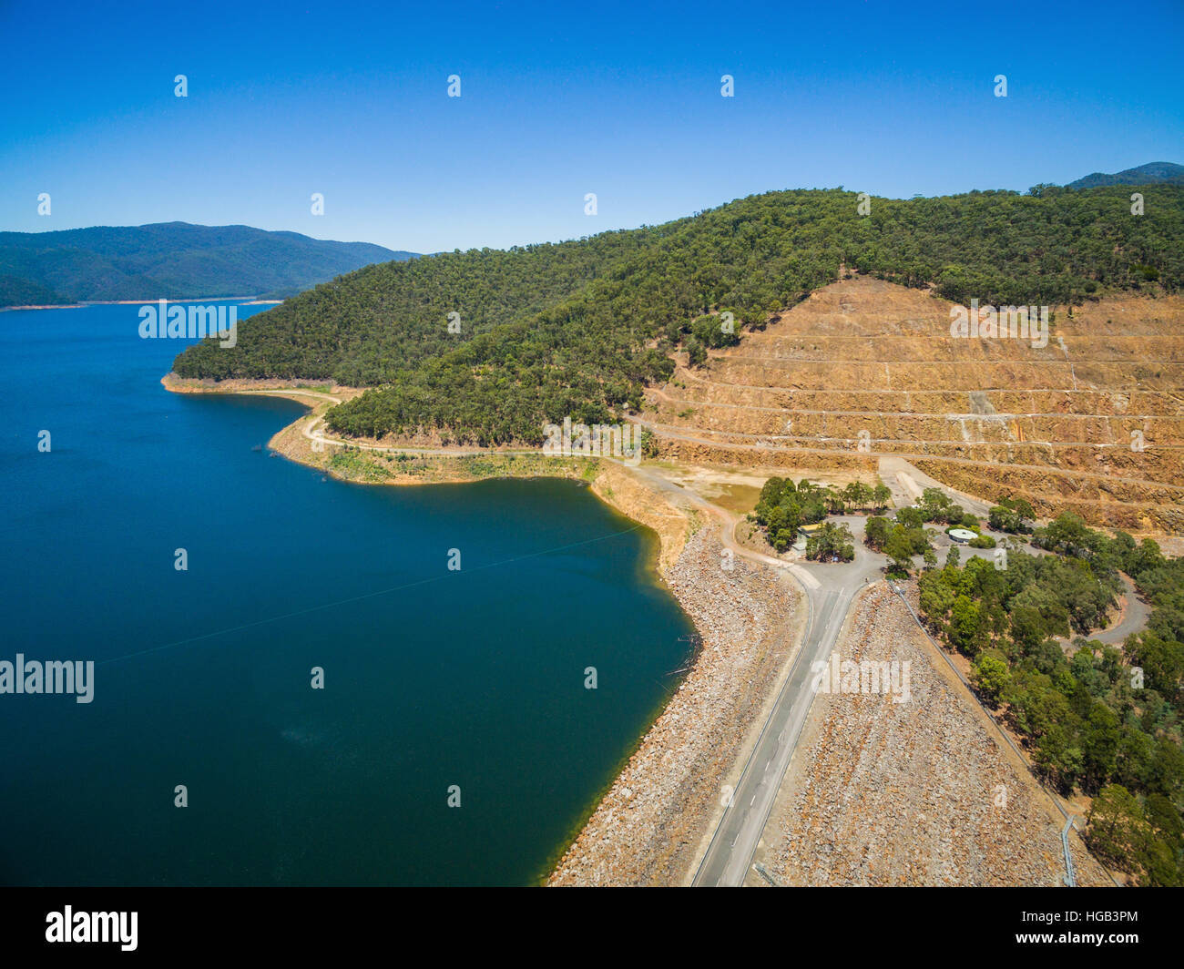 Aerial view of Dartmouth dam - the highest dam in Australia on hot summer day - Stock Image
