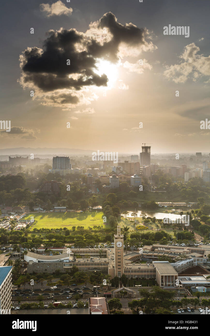 View to Uhuru Park in the business district of Nairobi, Kenya in the evening - Stock Image
