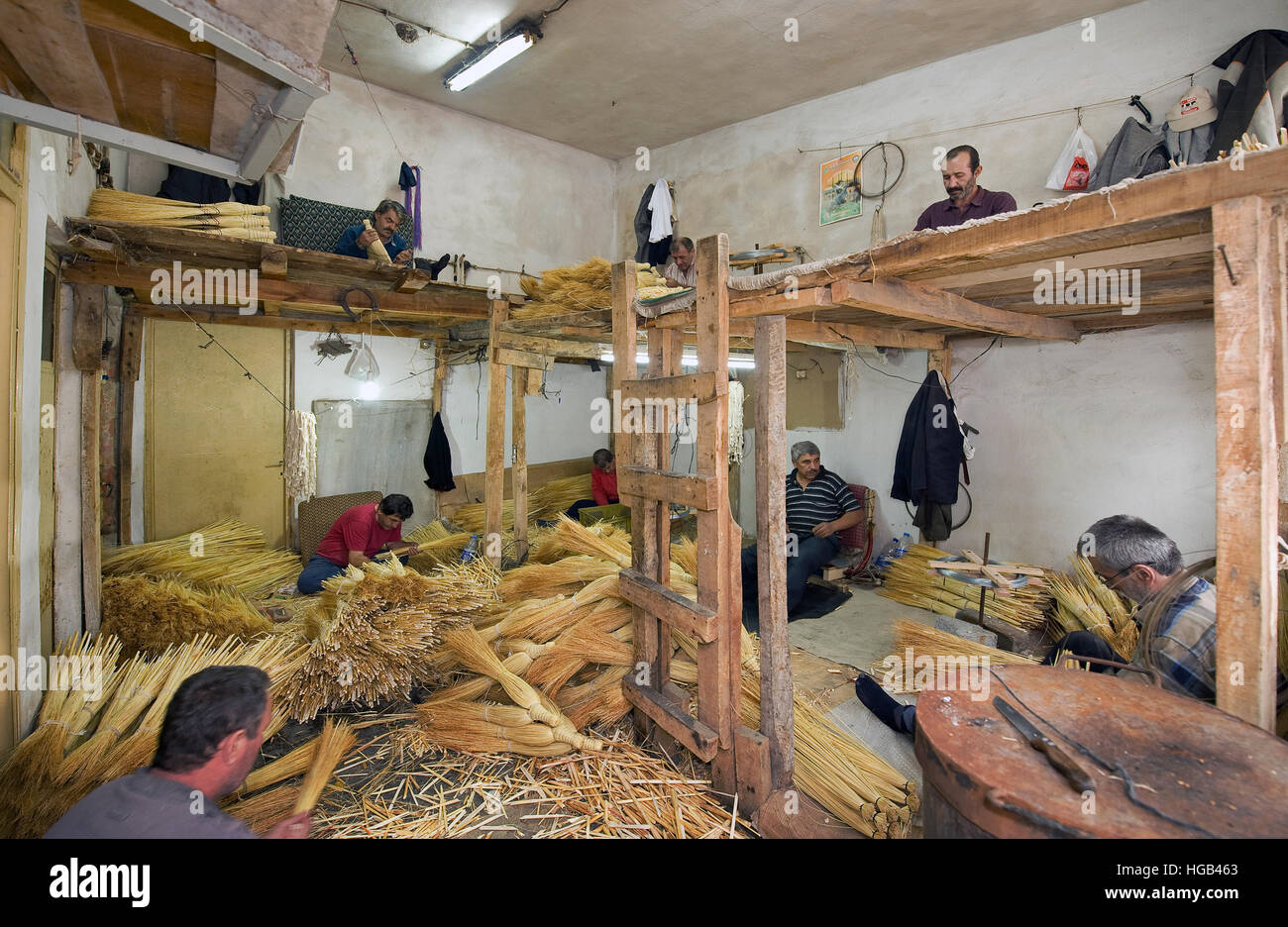 One of the crafts that made Edirne famous was making brooms. Today, there are still a couple of craftsmen making - Stock Image