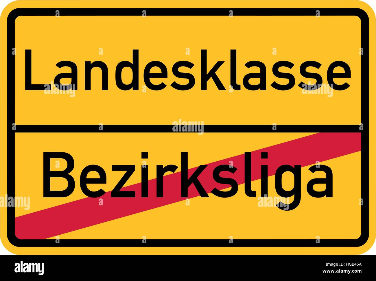 Promotion from regional league  - german village sign - Stock Image