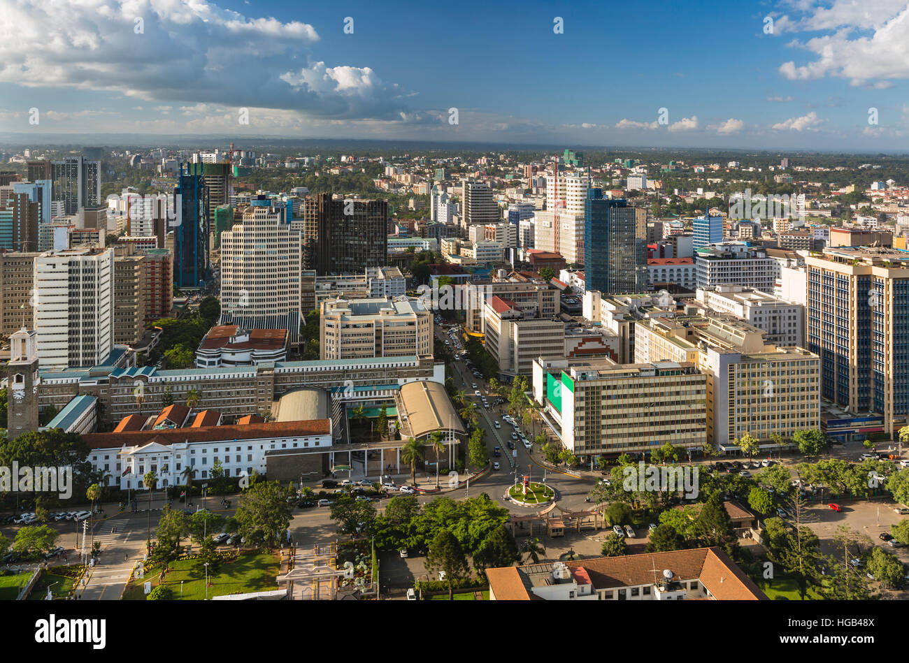 View over City Hall and modern highrises and streets in the northern business district of Nairobi, Kenya. - Stock Image