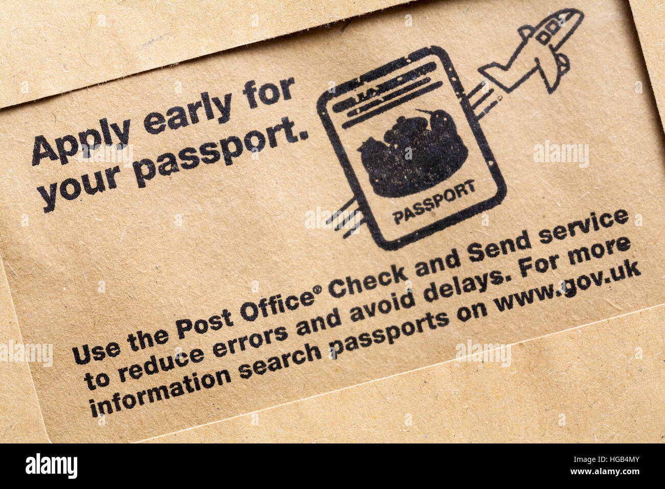 Apply early for your passport Use the Post Office Check and Send service to reduce errors and avoid delays - info - Stock Image