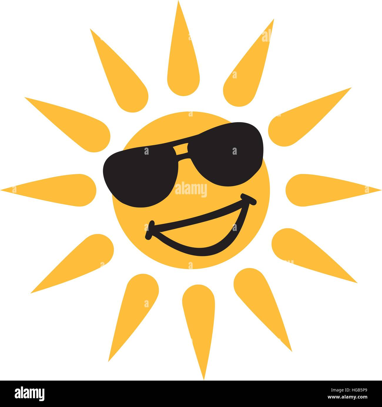 Hot weather - Smiling sun with sun glasses - Stock Vector
