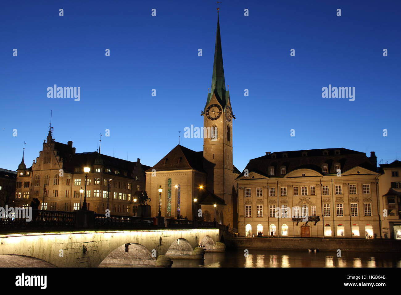 Zurich Fraumunster Church in the evening - Stock Image