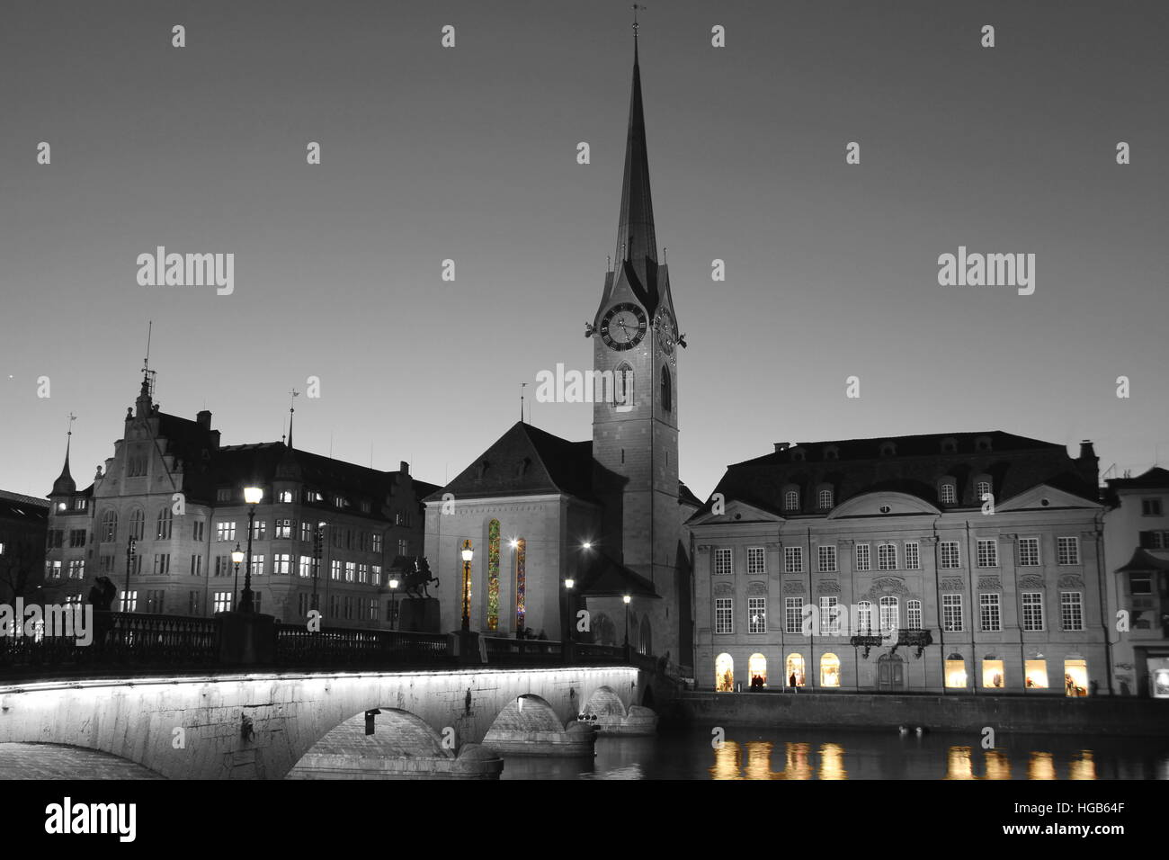 Zurich Fraumunster Chruch evening part colored - Stock Image