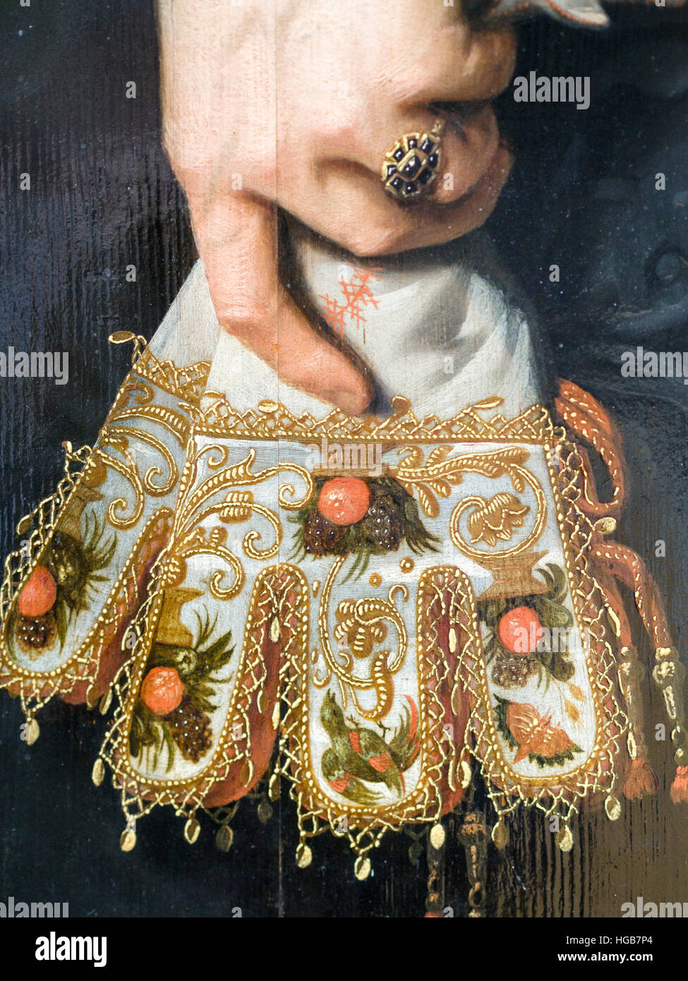Detail of a fan in a woman's hand. Detail from a Portrait of a woman 34 years old by Nicolaea Elias dit Pickenoy - Stock Image