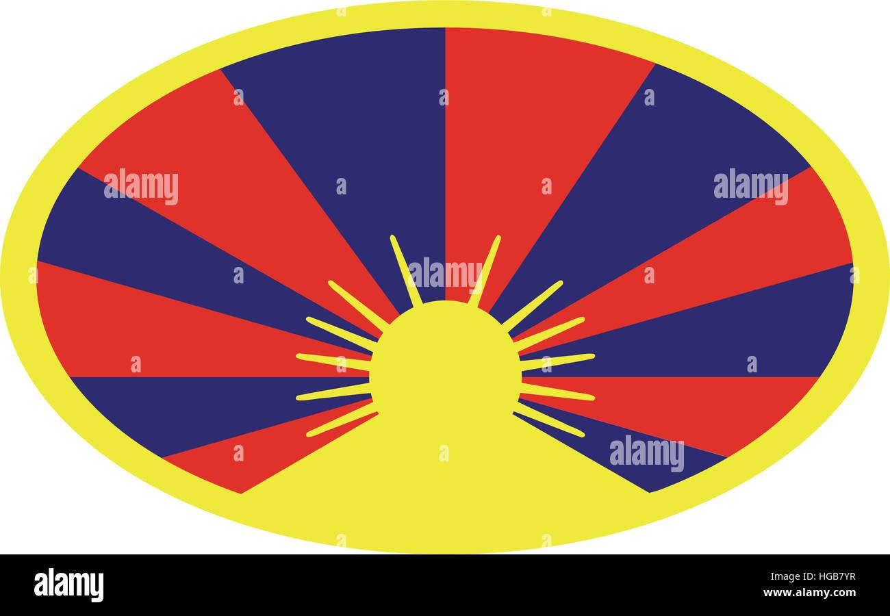Tibet flag button - Stock Vector