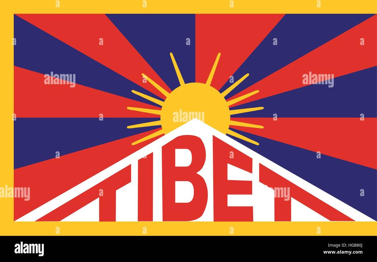 Tibetan flag - Stock Vector