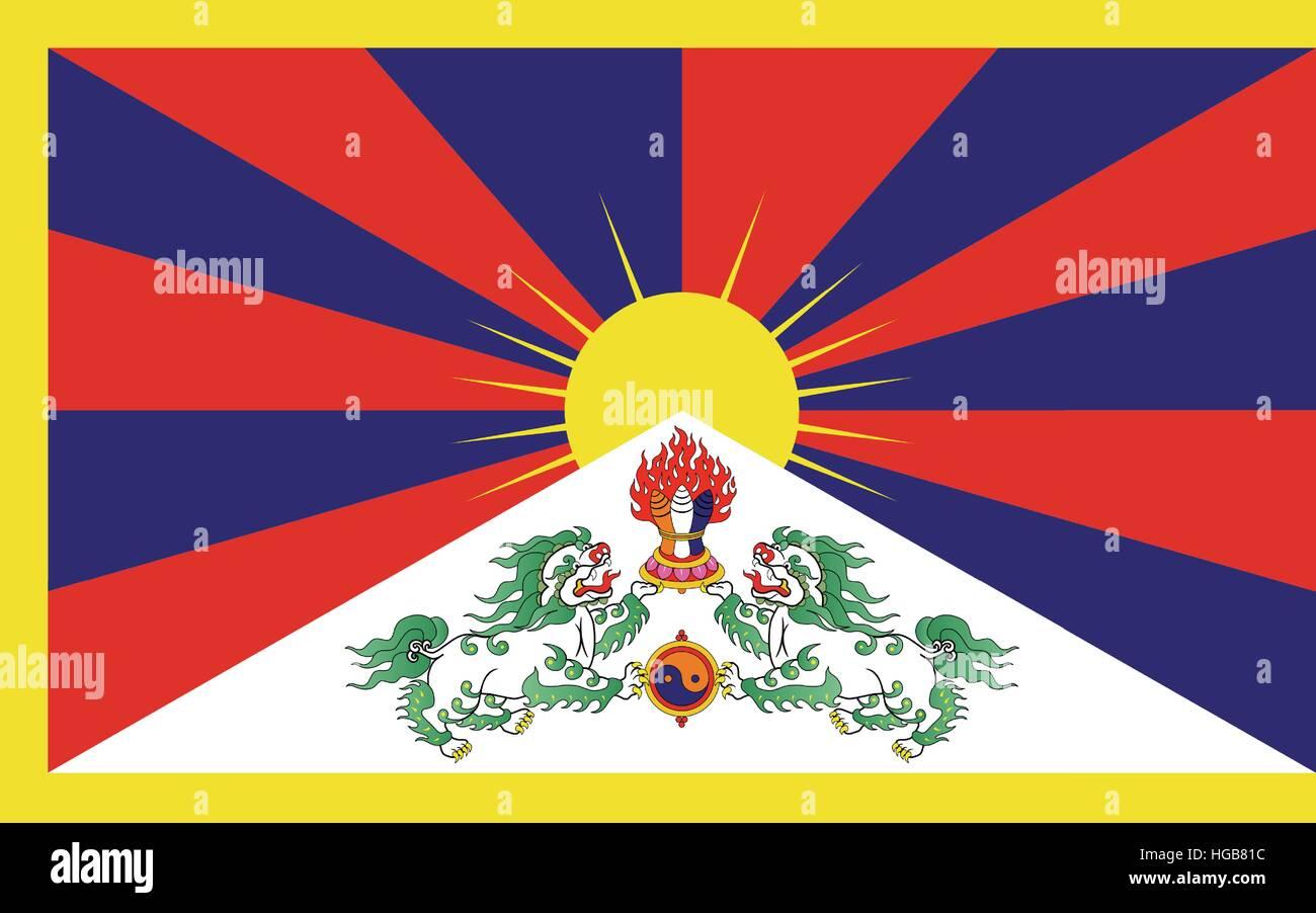 Tibet flag - Stock Vector