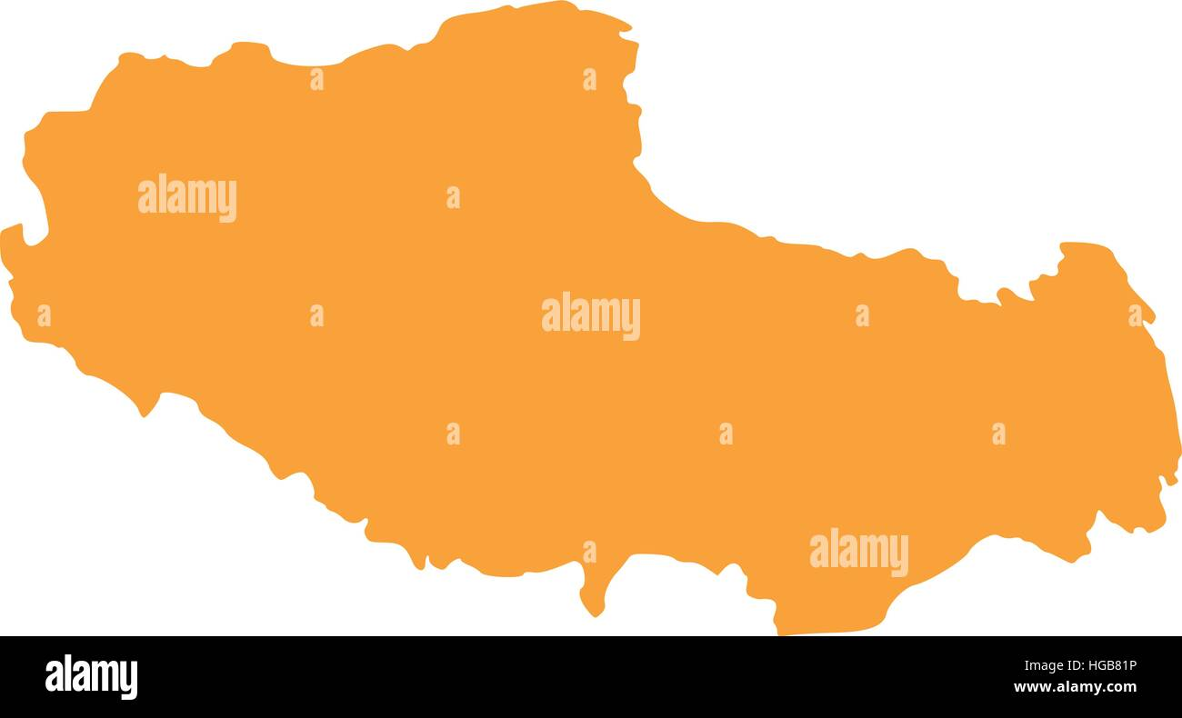 Tibet map - Stock Vector