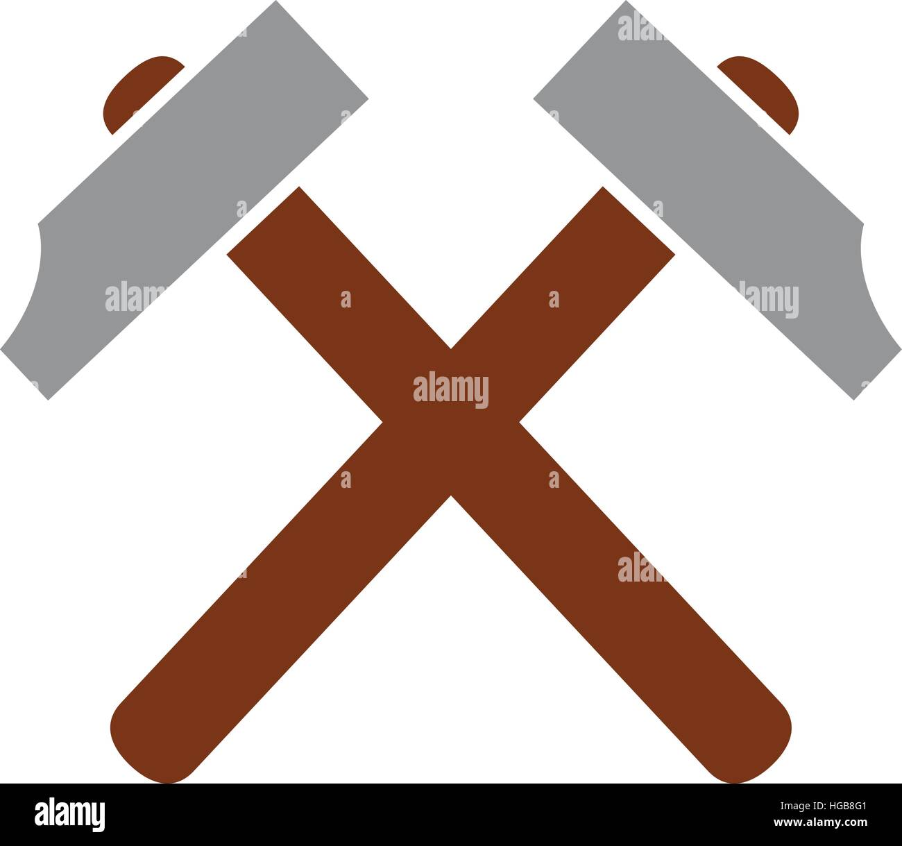 Crossed Hammer Symbol Stock Vector Art Illustration Vector Image