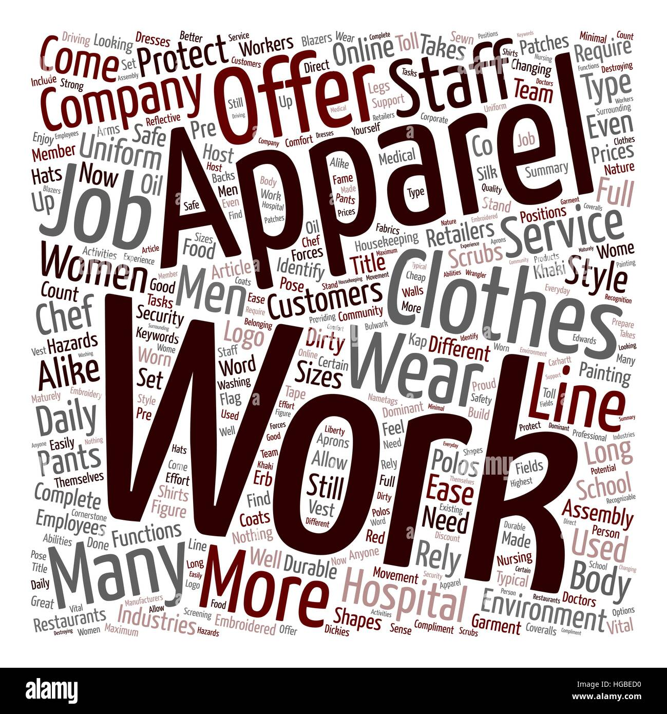 Work Apparel text background wordcloud concept - Stock Image