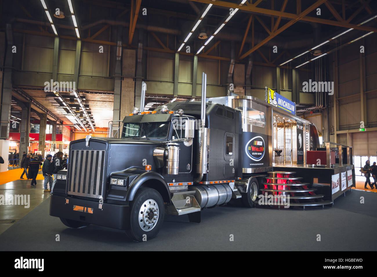 Italy, Bologna motor show 2016, Kenworth truck ICON 900 used by Michelin as booth on exhibitions - Stock Image