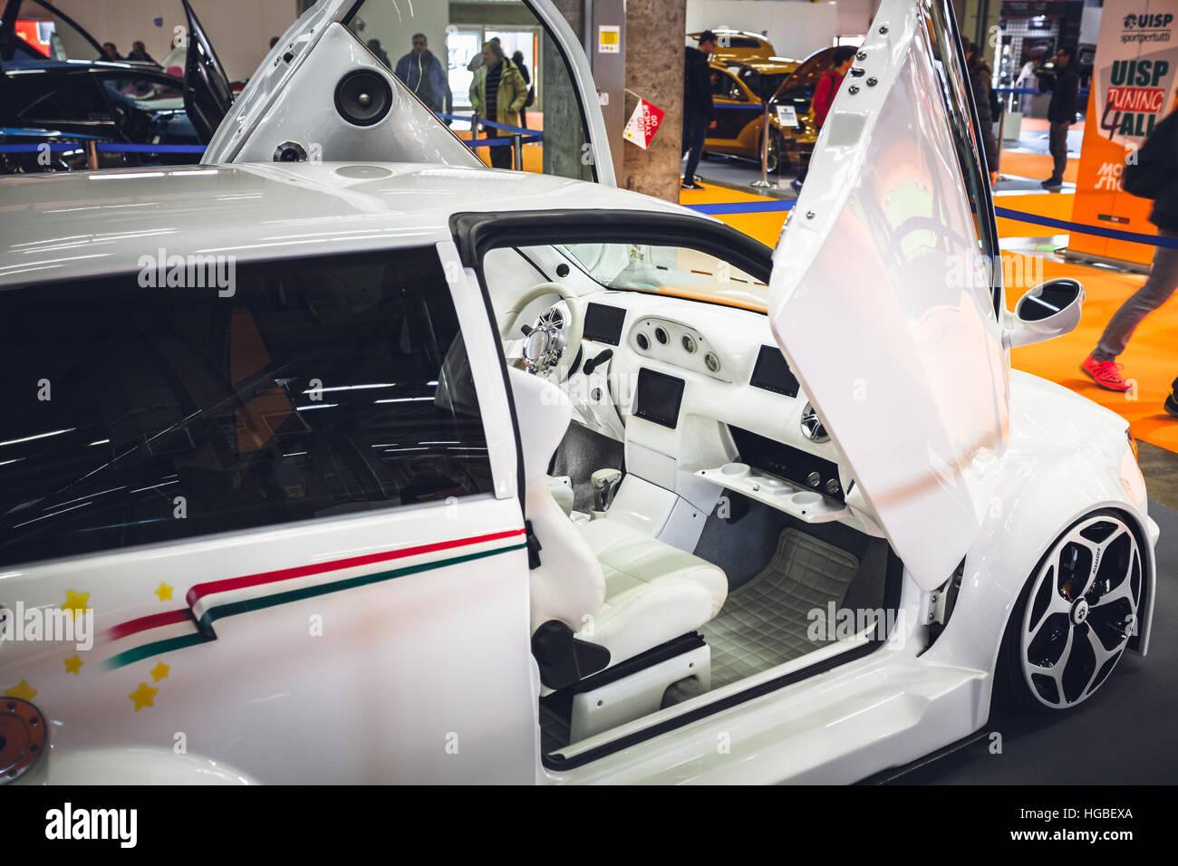 Italy, Bologna motor show 2016, Fiat Punto interior design transform - Stock Image