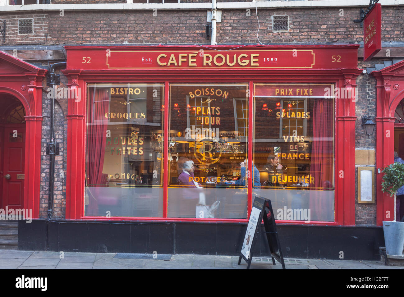 Cafe Rouge cafe in The Shambles, York city centre, UK - Stock Image
