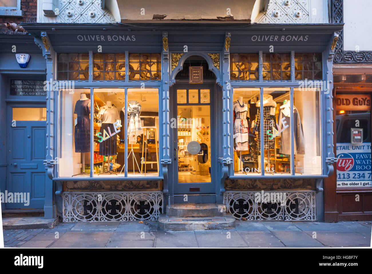 Shop front in The Shambles, famous medieval shopping street in York city centre, UK - Stock Image