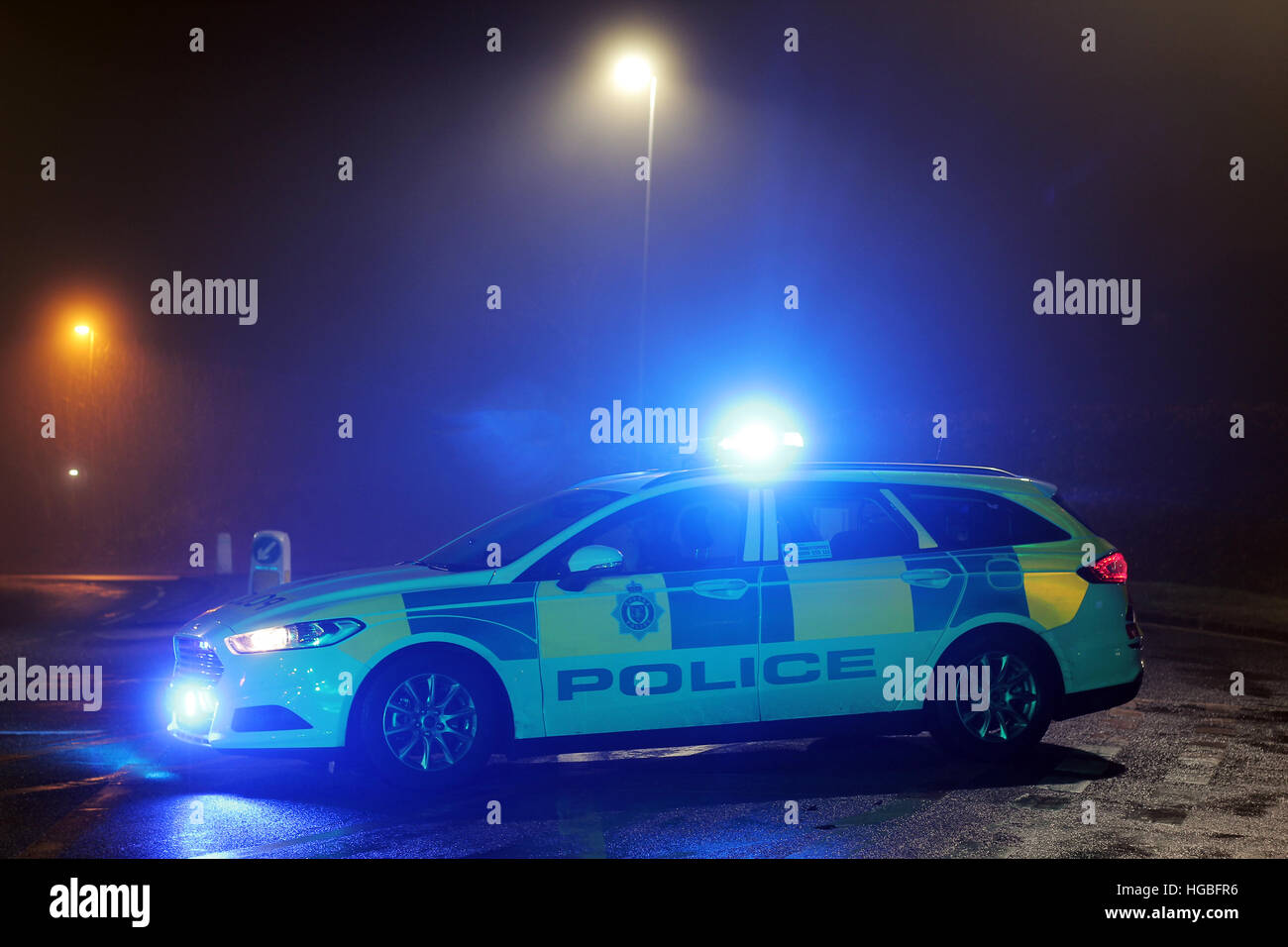 Sussex Police Response Car on a road closure after a single vehicle rtc. - Stock Image