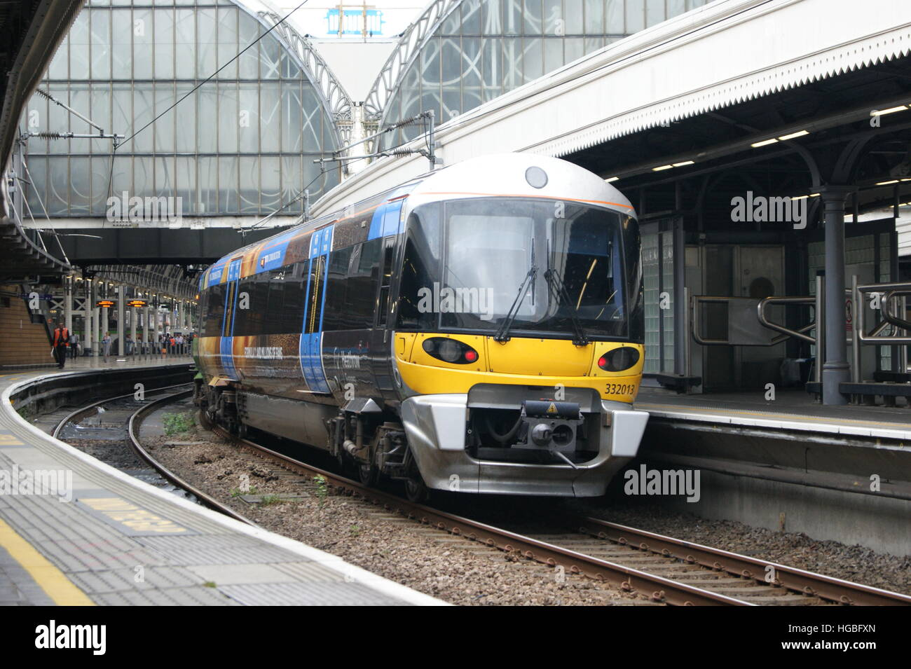 Heathrow Express unit No. 332013 sits in London Paddington on 2nd September 2016 having just arrived from Heathrow Stock Photo