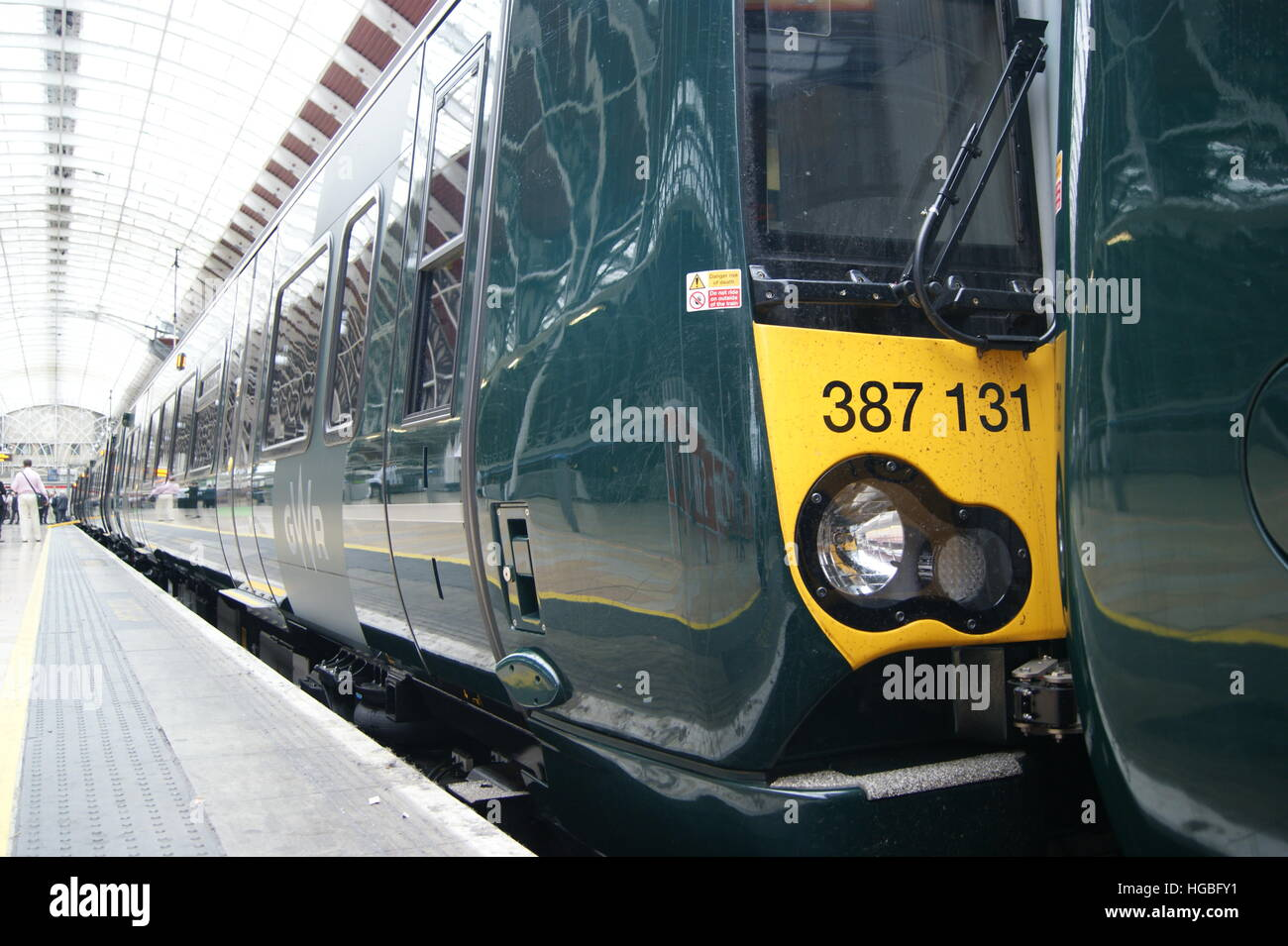 New Electrostar units No. 387131 and 387132 sit in London Paddington on 2nd September 2016 on display. Stock Photo