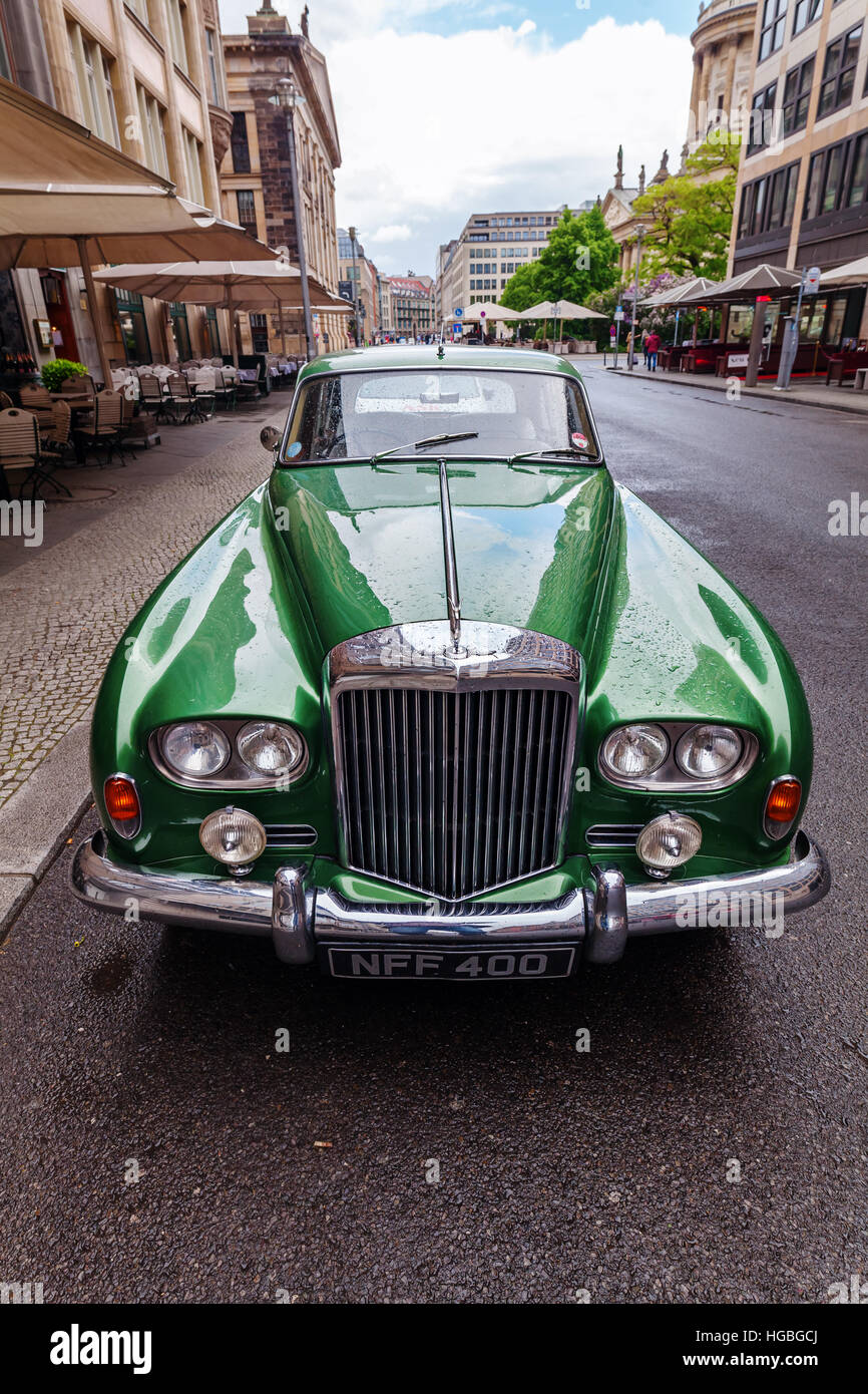 Berlin, Germany - May 15, 2016: Bentley car on a street in Berlin. Bentley Motors Limited is a British company that - Stock Image