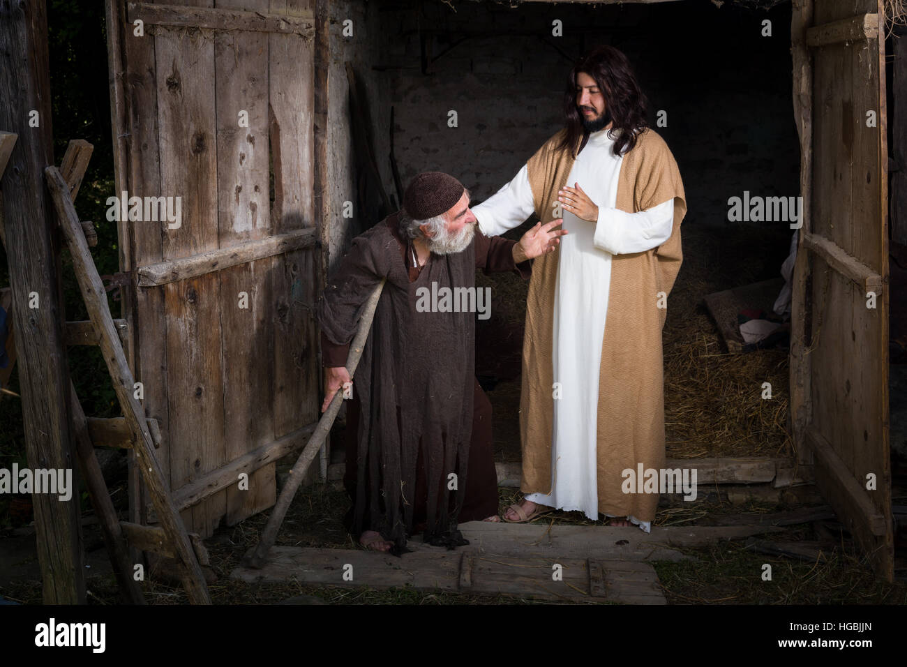Jesus healing the lame or crippled man - Stock Image