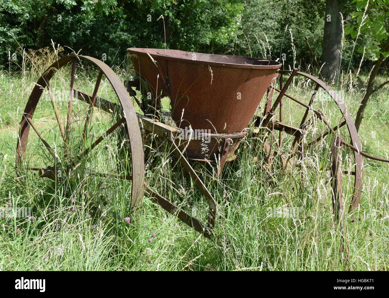 Vintage rusty farm equipment in long grass, trees in background - Stock Image