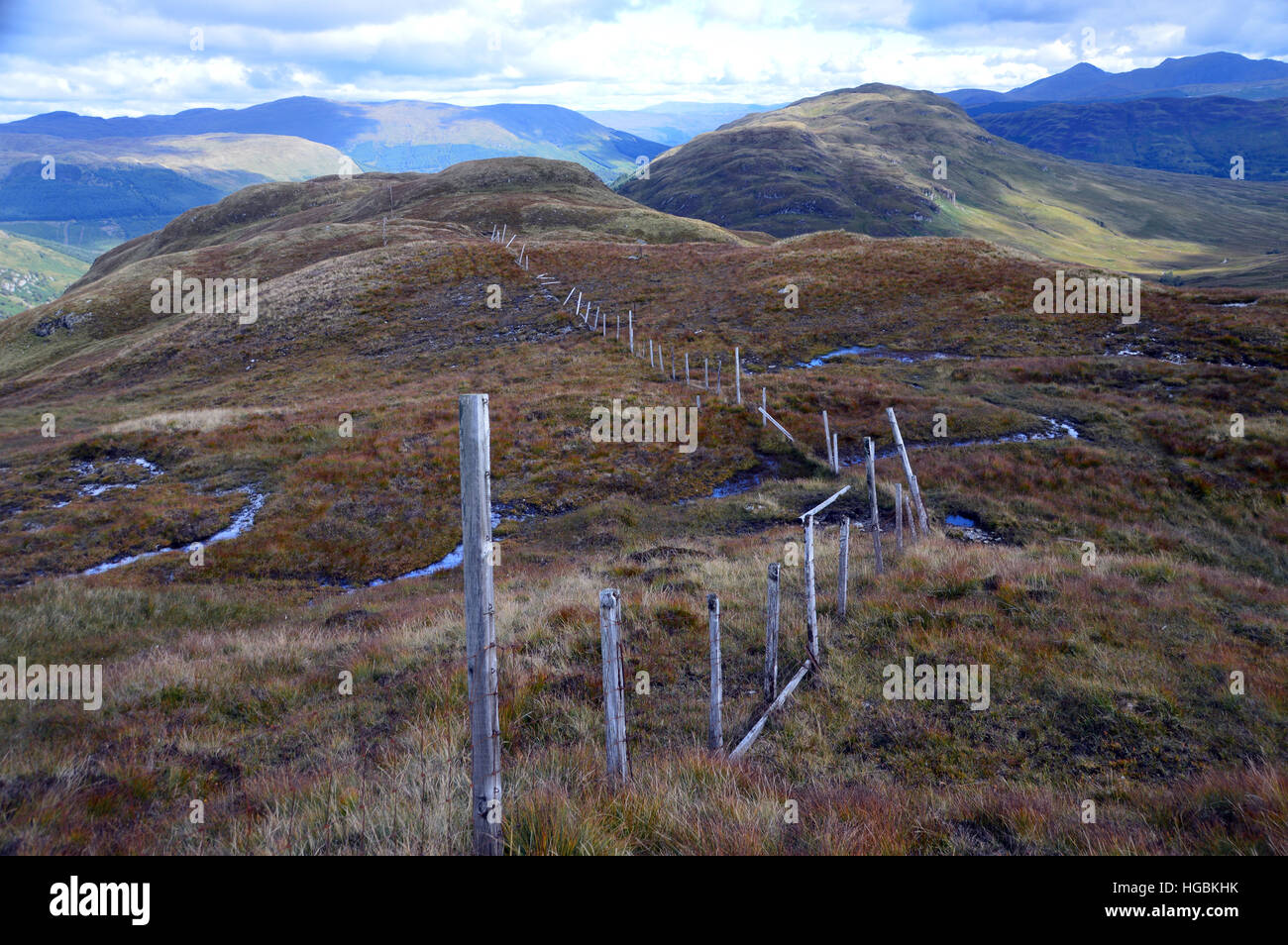 Old Boundary Fence on the Ridge to the Graham Creag Mhor from the Corbett Beinn Stacath (Stob Fear-tomhais) Scottish Stock Photo
