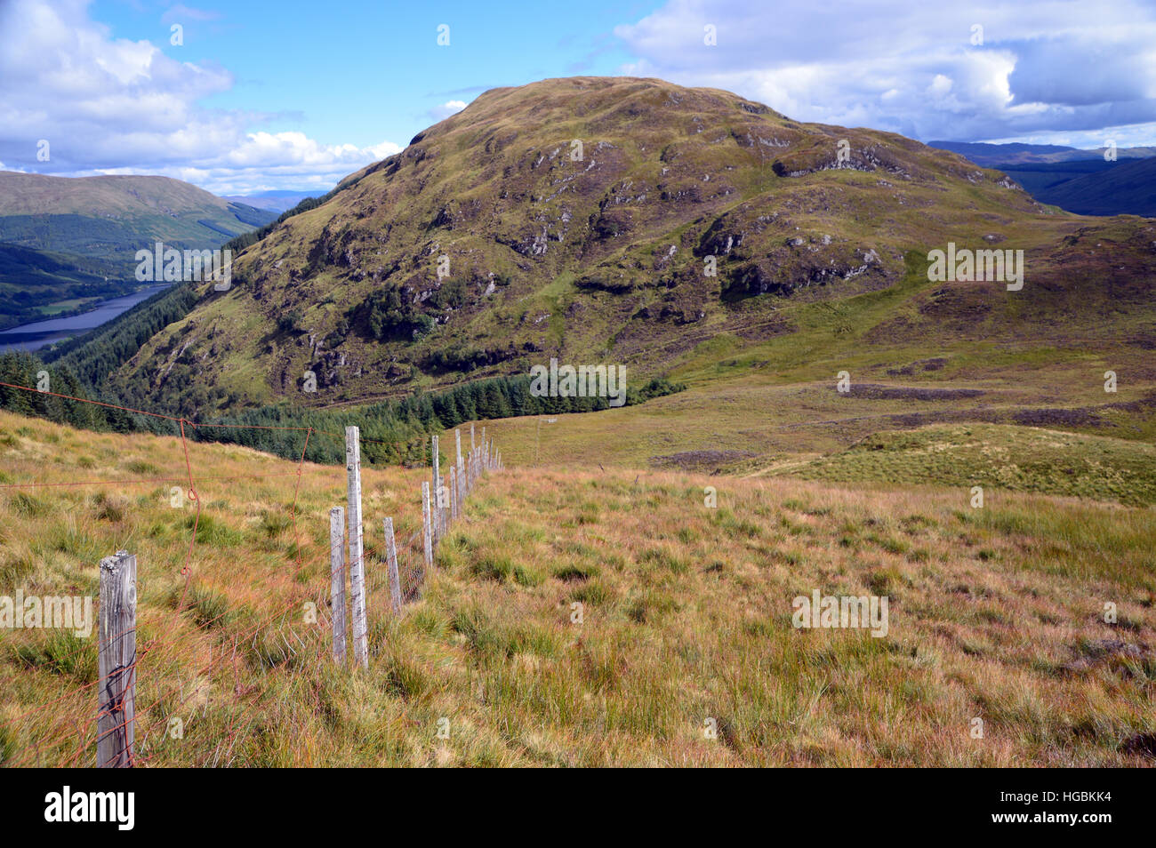 Old Boundary Fence on the Ridge to the Graham Creag Mhor from the Corbett Beinn Stacath (Stob Fear-tomhais) Scottish Stock Photo