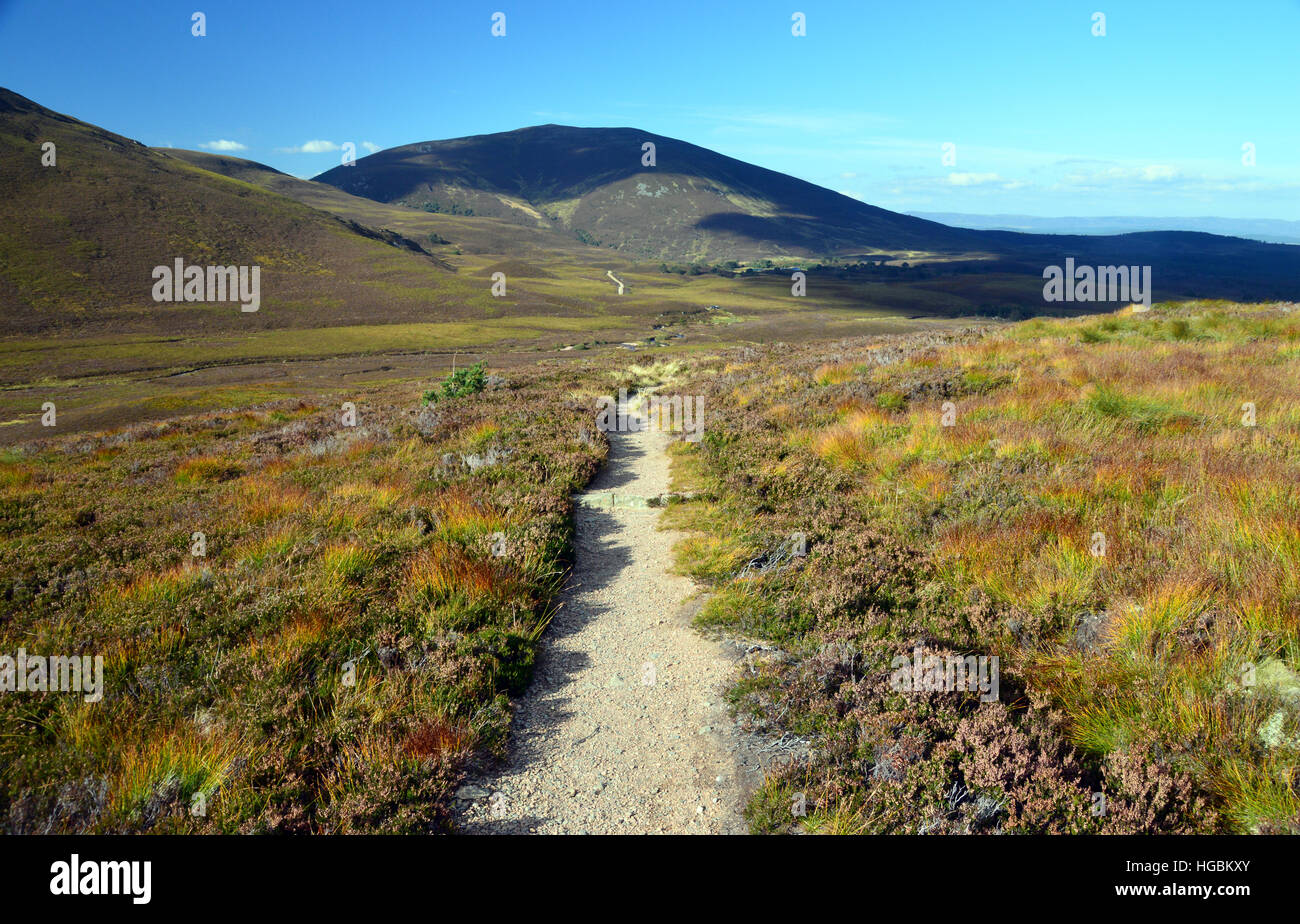 The Corbett Meall a' Bhuachaille and the Footpath to Braemar via the Lairig an Laoigh from Glenmore Lodge. Scottish Stock Photo
